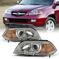 For 04-06 Acura MDX FACTORY STYLE Chrome Clear Headlight Complete Assembly Kit